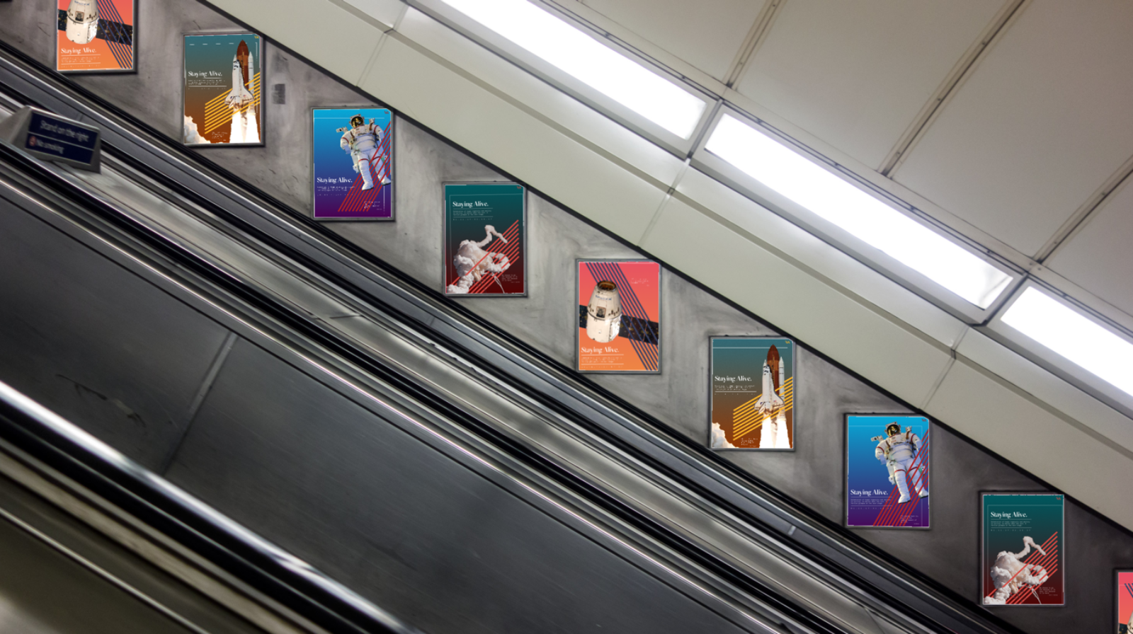 Tube escalator placement.
