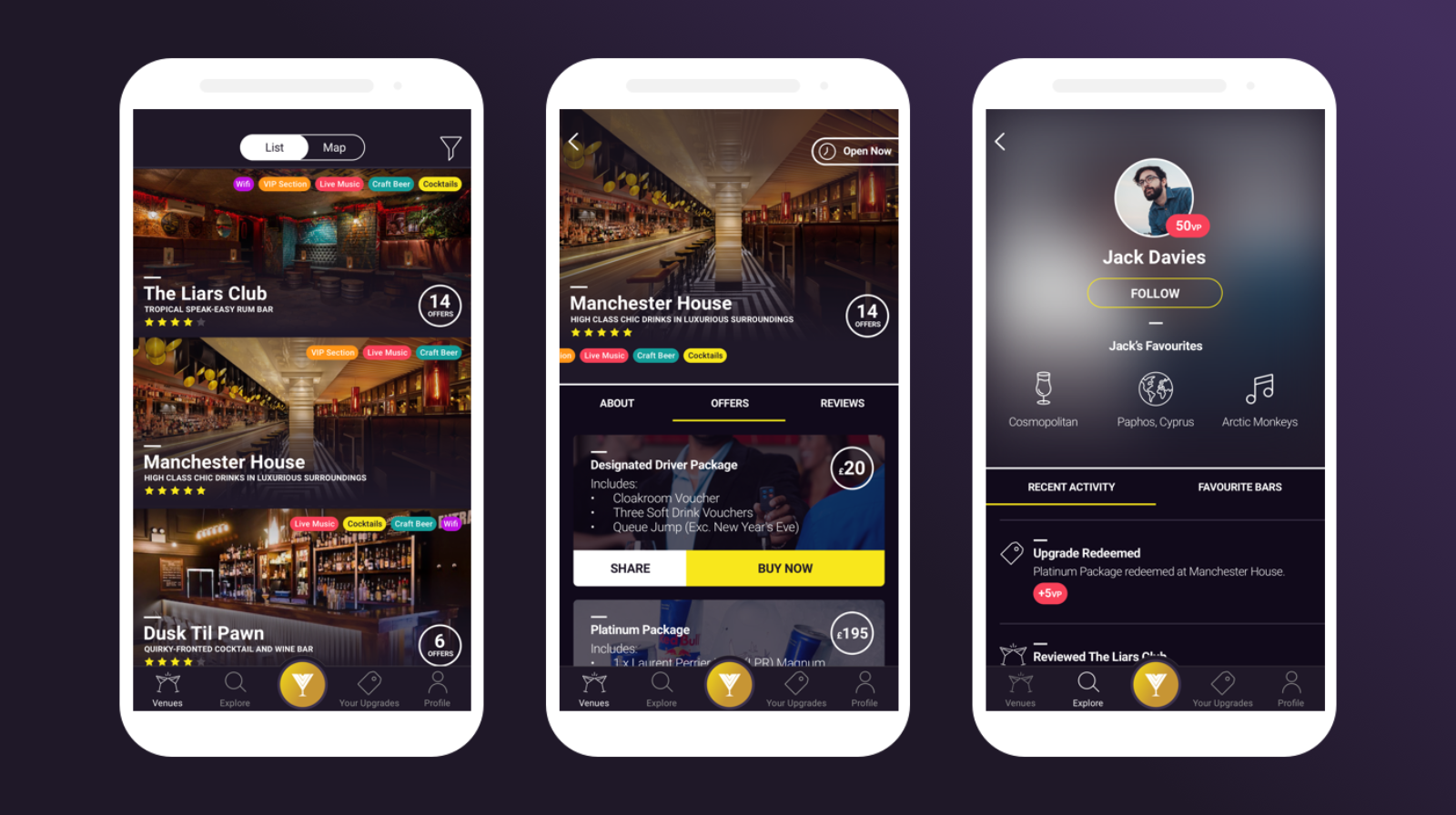 Viper App Designs — Viper Venue Listings (left), Viper Venue Profile (center), User Profile (right)